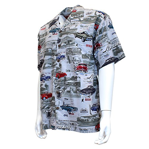 David Carey Ford Mercury & Comet Camp Shirt – Retro Inspired Button Up Collared Short Sleeve Charcoal Grey Club Shirt, ()