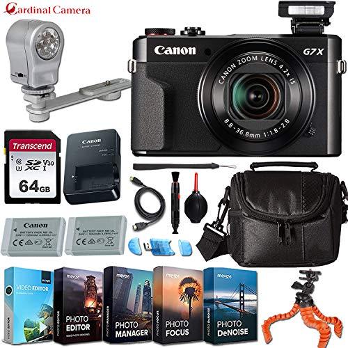 Canon PowerShot G7 X Mark II Digital Camera w/Professional Editing Software + LED Video Light & Exclusive Accessory Bundle