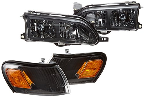 (Spec-D Tuning 2LCLH-COR93JM-DP Toyota Corolla Dx Trac 4 5 Dr, Black Housing Clear Lens Headlights, Corner Lamps)