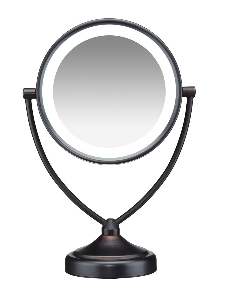 Conair Natural Daylight Double-Sided Lighted Makeup Mirror - Lighted Vanity Makeup Mirror; 1x/10x magnification; Oiled Bronze Finish