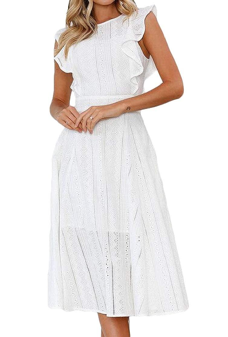 BU2H Women Lace Fashion O-Neck Asymmetrical Sleeveless Flounces Midi Dresses