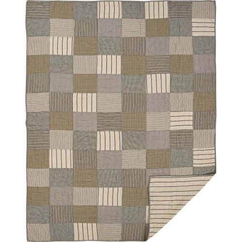 Bedding Brands Set - VHC Brands Farmhouse Bedding - Sawyer Mill Grey Quilt, Twin, Charcoal