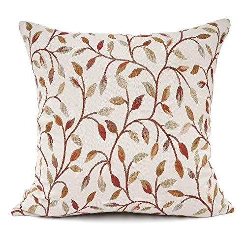 18' Beige Decorative Pillows - YOUR SMILE Classical Embroidery Jacquard Beige Leaf Pattern Square Decorative Throw Pillow Case Cushion Cover 18 x 18 inch
