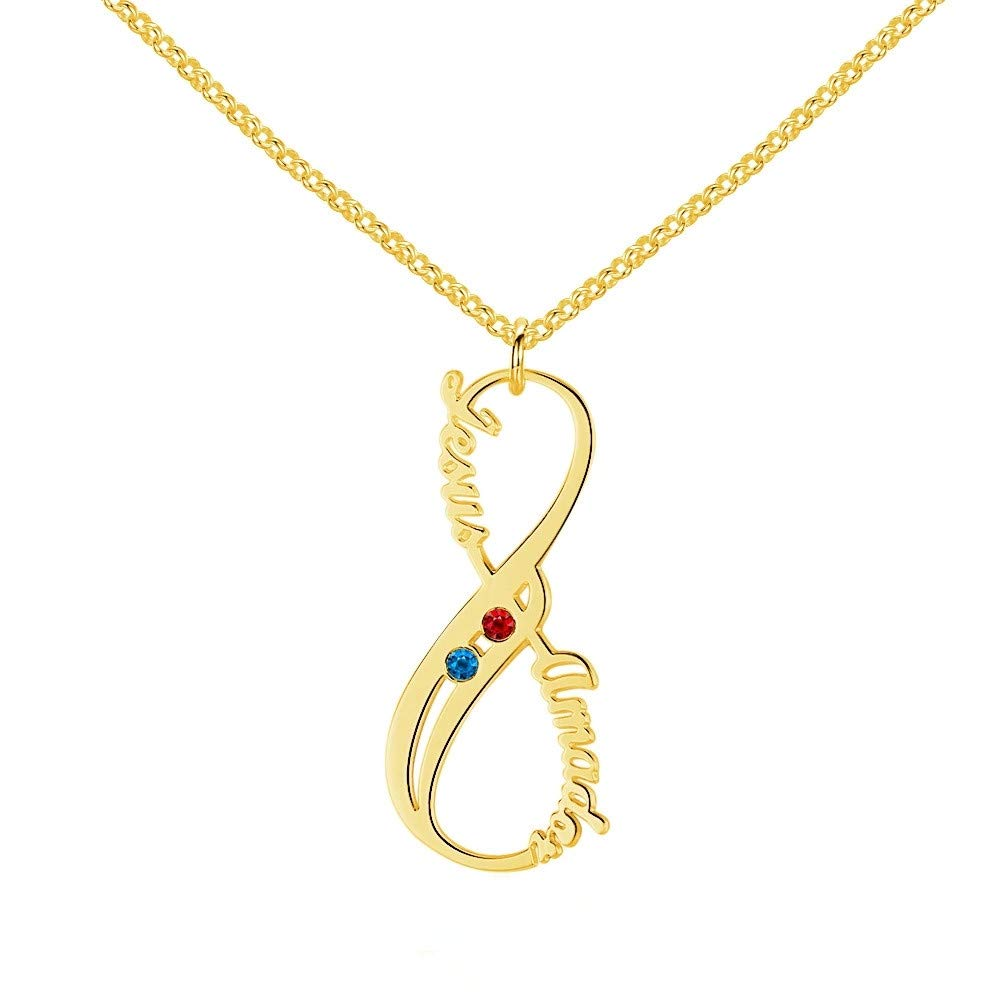 BINKILA 925 Sterling Silver with Two Birthstones and Two Names Custom Necklace for Women