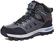 Rokiemen Men's Womens Ankle High Waterproof Hiking Boots Winter Fur Lined Warm Mid Outdoor Trail Mountaine