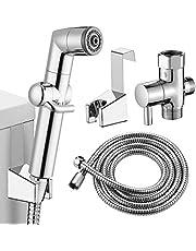 KAIYING Handheld Bidet Sprayer for Toilet, Baby Cloth Diaper Sprayer, Bathroom Muslim Shower Toilet Sprayer Attachment with Hose, Support Wall or Toilet Mount (Chrome)