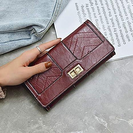 Color : Burgundy Color : Burgundy YOIOY Envelope Clutch Bag New Retro Commute Long Ladies Wallet tri fold Fashion Sewing Thread Card Bag Purse