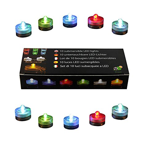 PK Green Underwater LED Lights   Set of 10 Battery Operated Colour Changing Submersible Tea Lights   Waterproof Flameless Candles for Hot Tub, Pool, Bath, Spa, Bowl, Centrepiece, Vase, Aquarium, Fish by PK Green (Image #5)