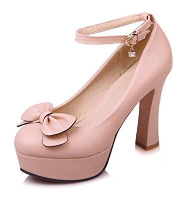 5bf1ced81f6 Easemax Women s Sweet Bows Ankle Buckle Strap Pendant Platform Round Toe  High Chunky Heel Pumps Shoes