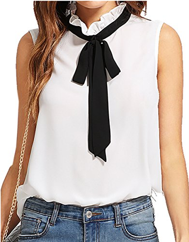 Romwe Women's Casual Sleeveless Bow Tie Blouse Top Shirts White S