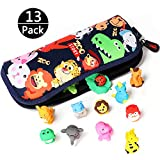 VAMEI 13 Pack Pencil Case and Animal Rubber Erasers Set Adorable Back to School Stationery Supplies Party Favors Game Fun Birthday Gift for Kids Boys Girls Children Teen (Random Color)
