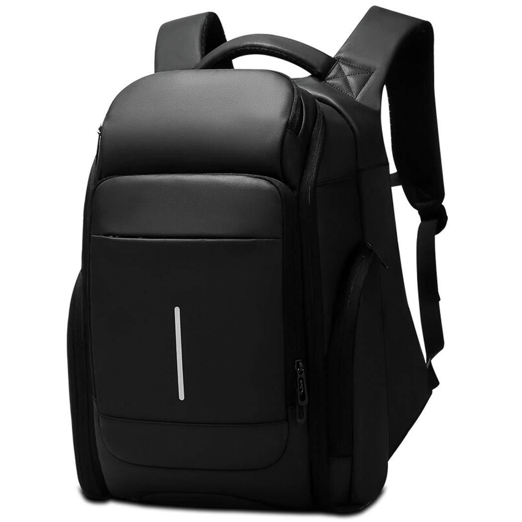 カジュアルショルダーランドセル撥水バックパック、17.3インチノートパソコン用デイパックブラックに適したビジネスナップザック (Color : ブラック, Size : 47cm) B07SS97Y24 ブラック 47cm