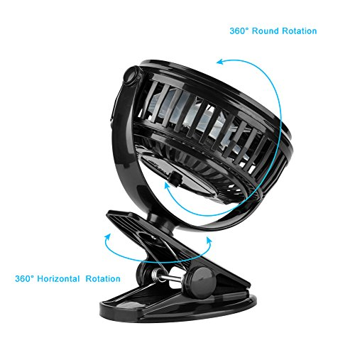 Battery Operated Desk Fan : Clip on usb fan wuudi battery operated mini desk for