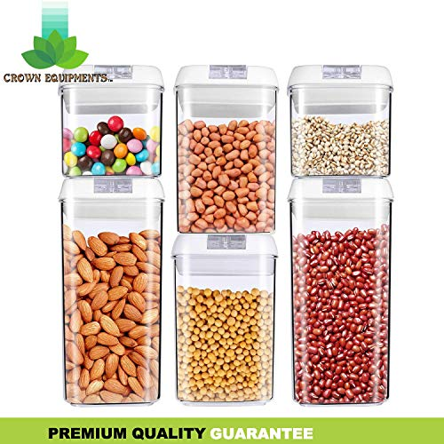 Airtight Food Storage Containers - [2019 Upgraded+BONUS] Premium Airtight Container Set with Lids - [6 Pack] Dry & Fresh Durable BPA Free Plastic - BONUS Chalkboard Labels & Marker Included - Crown Equipments