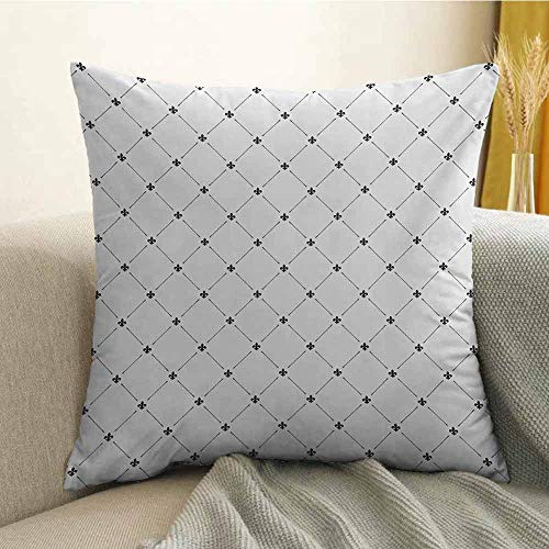 (Fleur De Lis Microfiber Shabby Chic Style Damask Pattern with Vintage Kitsch Geometric Diamond Lines Sofa Cushion Cover Bedroom car Decoration W16 x L24 Inch Black White)