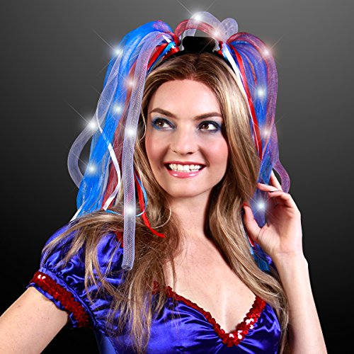Light Up Red, White & Blue Hair Noodle Headbands