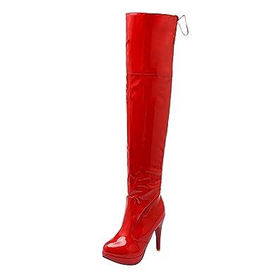 UH Damen Schnür Overknee Stiefel High Heels Lack Plateau Stiletto Boots mit Fell Elegante Warme Schuhe wLPjAI