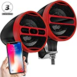 GoldenHawk Waterproof Bluetooth Wireless Motorcycle Stereo Speakers 7/8-1.25 in. Handlebar Mount MP3 Music Player Audio Amplifier System Scooter Bike ATV UTV, USB, FM Radio (Satin Red Black)