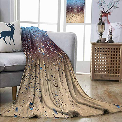 Homrkey Warm Blanket Rain Close Up Rain Drops on Glass Natural Sprays Sphere Contrasting Colors Picture Queen Size Blanket W60 xL91 Blue Tan Brown