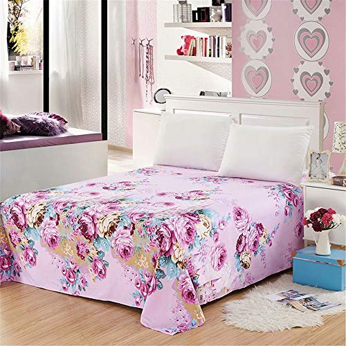 ALDECOR 1 Pack Twin XL Flat Sheet (Peony Flower Purple) Hotel Quality Breathable, Extra Soft and Comfortable - Wrinkle, Fade and Stain Resistant