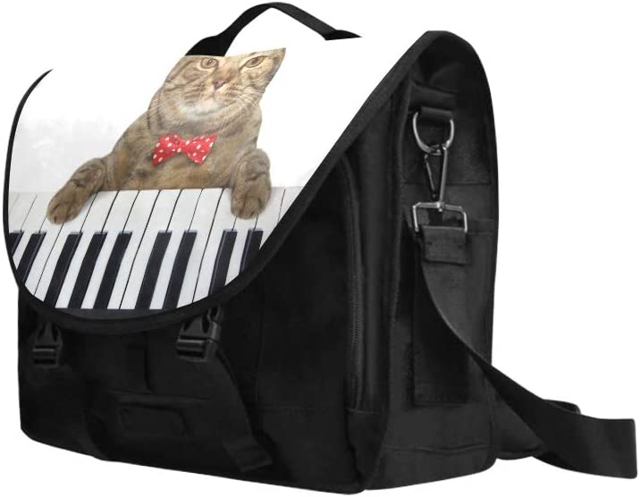 Handbag Satchel A Cute Cat Playing The Piano Multi-Functional Briefcases Laptop Fit for 15 Inch Computer Notebook MacBook
