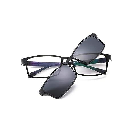 Z&HA Marco De Anteojos para Hombre Marco Óptico Gafas Graduadas Marco con Lentes Polarizadas con Clip