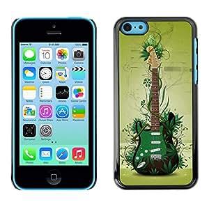FECELL CITY // Duro Decorativo Carcasa de Teléfono PC Caso Funda / Hard Case Cover foriPhone 5C // Green Guitar