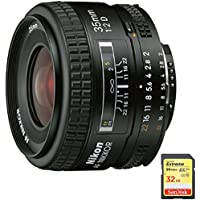 Nikon 35mm F/2D AF Nikkor Lens (1923) with Sandisk 32GB Extreme SD Memory UHS-I Card