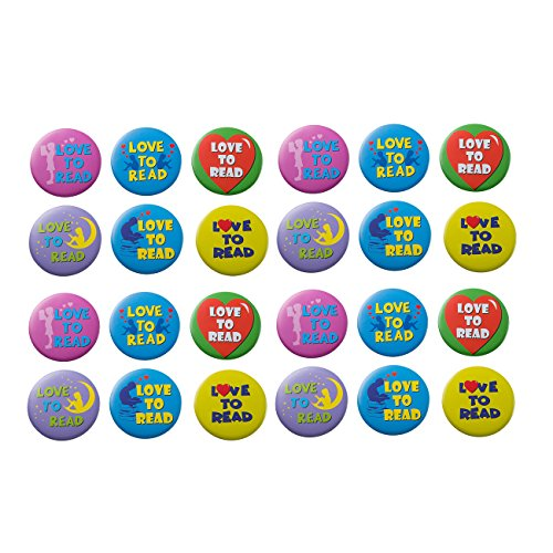 Pinback Button Love (Pinback Buttons - 24-Pack Love to Read Round Recognition Pins in 6 Designs for Students and Teachers, Yellow, Green, Purple, Blue, Pink, 2.25 inches Diameter)