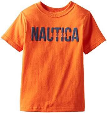 Nautica Little Boys' Chest Logo Tee, Clementine,S(4)