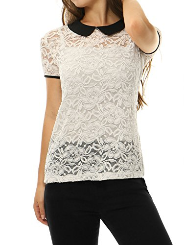 0034238326b925 Allegra K Women Contrast Peter Pan Collar See Through Lace Top White XS
