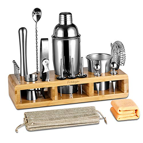 Complete 21-Pieces Bartender Kit, Freeya Premium Cocktail Bar Shaker Set , Stainless Steel Bar Tools / Bar Accessories…