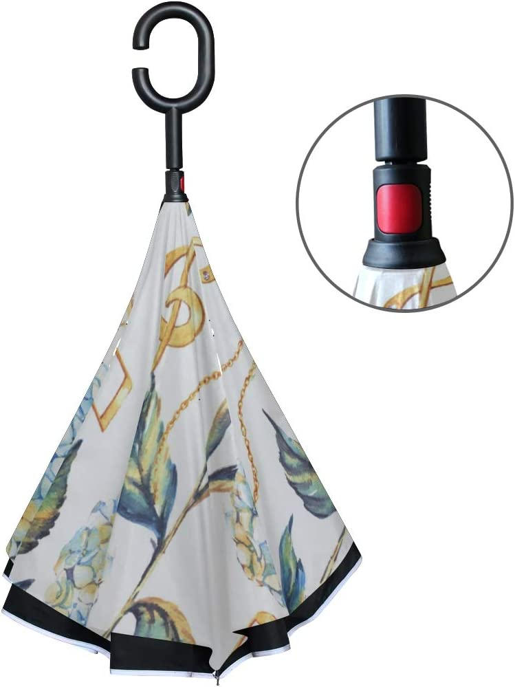 Double Layer Inverted Inverted Umbrella Is Light And Sturdy Handdrawn Pattern Summer Blossom Reverse Umbrella And Windproof Umbrella Edge Night Refle