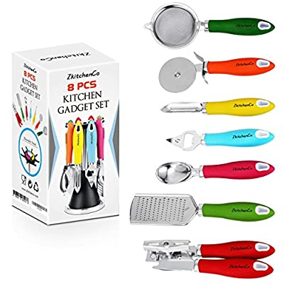 ZkitchenCo 8-Piece Kitchen Gadgets Utensils Cooking Tools, Stainless Steel Multi-Colored- Can Opener, Pizza Cutter, Bottle Opener, Ice Cream Scoop, Peeler, Grater & Strainer with Rotatable Stand
