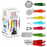 cusinart ice cream scoop - ZkitchenCo 8-Piece Kitchen Gadgets Utensils Cooking Tools, Stainless Steel Multi-Colored- Can Opener, Pizza Cutter, Bottle Opener, Ice Cream Scoop, Peeler, Grater & Strainer with Rotatable Stand