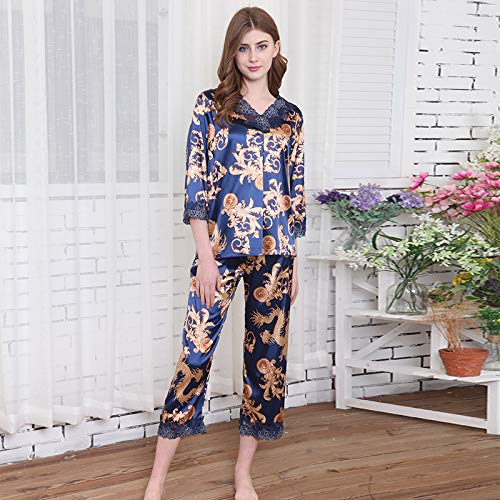 Domicilio Puntos Servicio Pantalón Para Nueve Home Pijama Mujer A Primavera Girando Nuevo Seda color Wilrnd Blue Mangas Blue De Pantalones 8xBZOwn