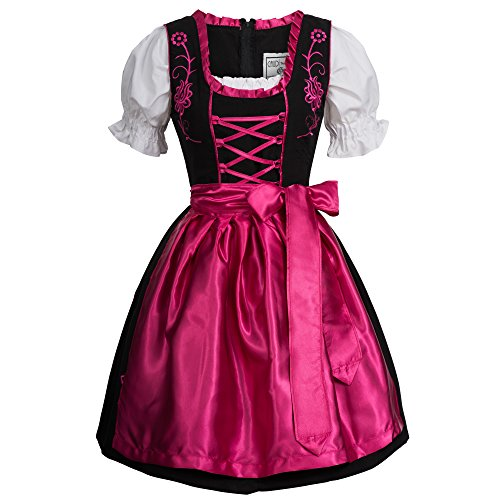 Gaudi-leathers Women's Set-3 Dirndl Pieces Embroidery 36 Pink/Black (German Fancy Dress Ladies)