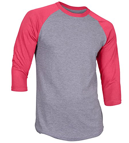 (Men's Plain Athletic 3/4 Sleeve Baseball Raglan Shirt Grey/Pink Small)