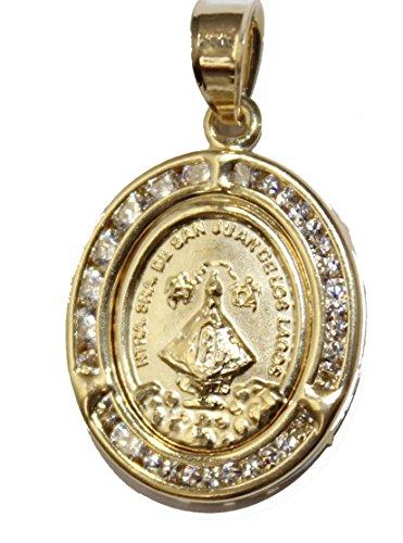 Virgen De San Juan De Los Lagos with Cubic Zirconia Medalla - San Juan De Los Lagos Medal 14k Gold Plated Oval - De Los Lagos Medal