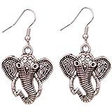 Yazilind Vintage Tibetan Silver Elephant Head With Long Nose Ear Wire Hook Dangle Earrings