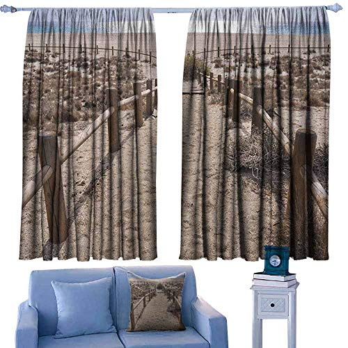curtains for livingroom/bedroom,Beach San Miguel Beach near Gate Cape Atlantic Ocean Coast Serene Holiday Warm Relax Scene,rod pocket drapes Thermal Insulated Panels home décor,W63x72L Inches Blue Be