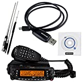 NKTECH Quad Band Antenna & Programming Cable and TYT TH-9800 VHF UHF 50W 809Channels Quad Band 29/50/144/430MHz Car Truck Mobile Radio Transceiver