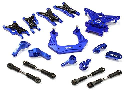 (Integy RC Model Hop-ups C25482BLUE Billet Machined Suspension Kit for Traxxas 1/10 Nitro Slash 2WD)