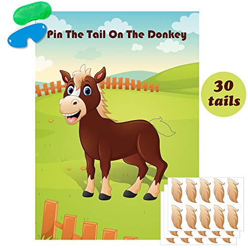 The Donkey Game (Pin The Tail On The Donkey Party Game Large Donkey Games Poster for Kids Birthday Party Carnival Party)