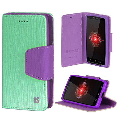 Infolio for Moto Droid Mini XT1030 PU Leather TPU Case Card Slot Bill Fold Magnetic Flap Mint Purple with Purple Gel