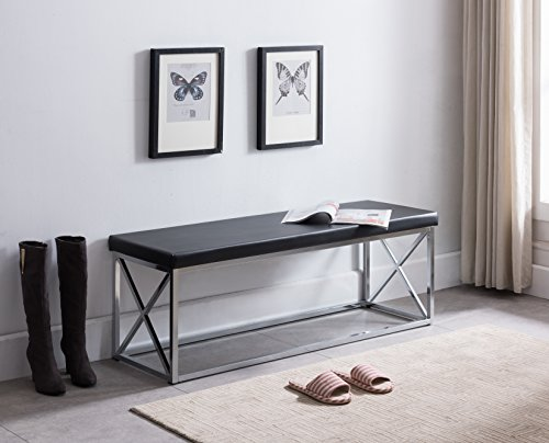 Bench Leather Chrome (Black Bonded Leather / Chrome Metal Frame X-Design Entryway Bedroom Bench)