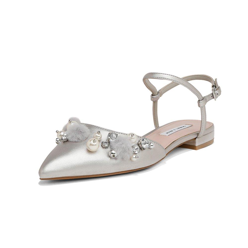 YQQ Zapatos Planos Zapatos De Ballet Femeninos Sandalias De Tacón Bajo De Verano Dama Niña Zapatos De Mujer Acogedor Moda Perla (Color : La Plata, ...