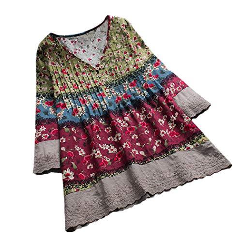 CUCUHAM Women Vintage Floral Print atchwork Long Sleeves V-neck Blouses