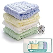 Umiin Baby Washcloths, Super Soft Natural Muslin Cotton Baby Bath Washcloths, Perfect Baby Gifts,12 x 12 inches, Set of 4