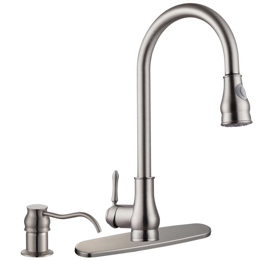 New 18'' Kitchen Sink Faucet Brushed Nickel Pull-Out Spray Swivel Spout Dispenser